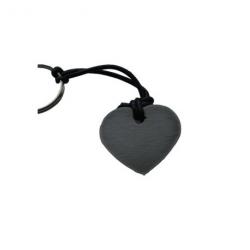Hjerte nøglering i sort læder