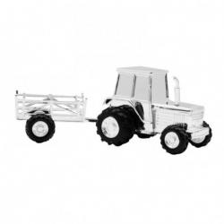Sølv traktor med vogn sparebøsse