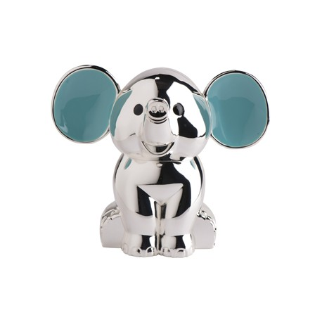 Blå elefant i sølv sparebøsse